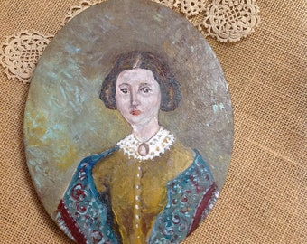 Civil War, Victorian painting, Lady with Cameo, by Nancy B. Brewer - Instant Great Grandmother. 8x10 oval canvas