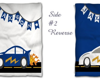 Racing Car Nursery Baby Bedding -Reversible Double Side - Design Your Own Baby Bedding- Personalized Nursery Bedding -Crib-Toddler Comforter