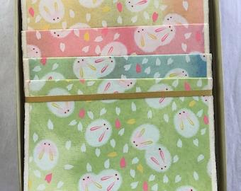 Usagi Rabbit Fabriano Assortment Japanese Handmade Washi Boxed Note Card Set