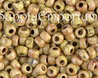 Size 6/0 Miyuki Seed Beads - 15 grams - Yellow Picasso 6/0 Seed Beads - Miyuki 6-4512 6/0 Yellow Picasso Seed Beads - 754