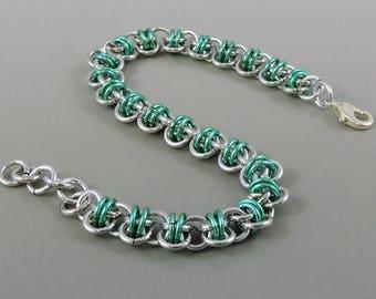 Barrel Weave Chainmail Bracelet, Seafoam Green Chainmaille Bracelet, Chain Mail Jewelry, Green Bracelet