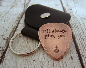 Copper Guitar Pick-Rustic Guitar Pick-Music Lover-Anniversary Gift-Gift for Husband-Musician Gift-I Pick You-Engraved Guitar Pick