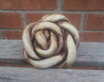 brown rose shaped pottery soapdish