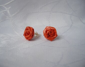 Red paper rose flower ear studs