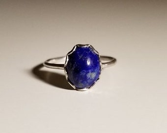 Lapis Lazuli Gem on Sterling Silver Ring