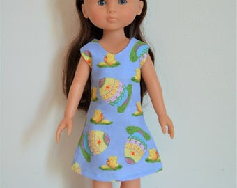 "Handmade Doll Clothes Dress fits 13"" Corolle Les Cheries Dolls Handcraft Easter Eggs Q1"