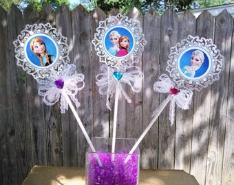 frozen center pieces sticks ,Anna ,Elsa  wands 3 [pieces ] handmade ,fiesta frozen table decoration