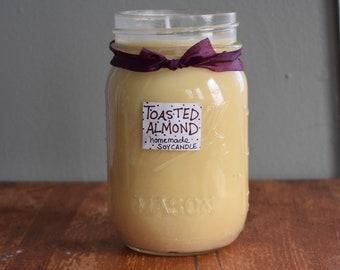 Toasted Almond Homemade, Mason Jar Soy Wax Candle