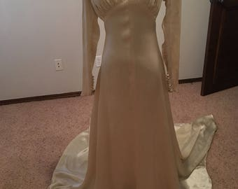1930s Silk Satin Wedding Gown
