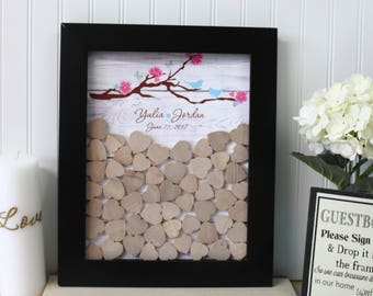 guest book drop box  black frame cherry blossom  Wedding Guest book  top Drop box alternative guest book wood heart guestbook