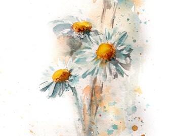 Daisies Fine Art Print, daisy flowers watercolor print, modern botanical wall print, floral art print