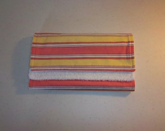 Zoo Babies Stripes in Pink & Yellow Burp Cloth