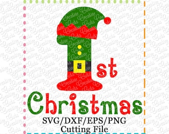 EXCLUSIVE 1st Christmas Elf SVG Cut File, 1st Christmas svg, Elf cutting file, Santa's elf svg, baby's 1st svg, LIMITED commercial use