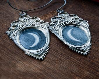 Luna Goddess Hand-Painted Shield Earrings OOAK / Moon Goddess Earrings / Gothic Occult Earrings / Crescent Moon Earrings