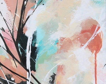 Peinture abstraite à l'acrylique, Tableau contemporain abstrait unique, oeuvre d'art originale