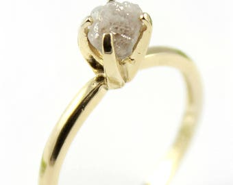 Raw Diamond Engagement Ring in 14K Yellow Gold - White Rough Uncut Diamond - April Birthstone - SOLID Gold Ring