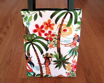 Mini Tote Bag Hawaiian Hula Girls Plumeria Flowers Palm Trees Monsteras Tiki White COTTON Beach Summer gift Girls Women REVERSIBLE! 1 Pocket