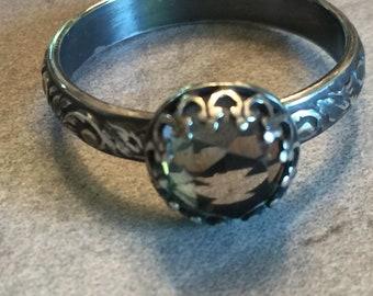 8MM Smoky Topaz Quartz Solitaire Ring Sterling Silver Art Nouveau