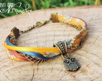 """Bracelet liberty floral ribbons mustard blue Sienna bronze OWL charm and chain """"Wallflower"""""""