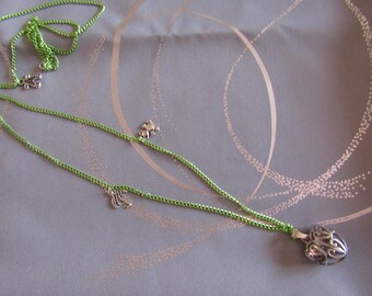 CLEARANCE necklace pregnancy Bola silver green