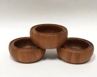 MCM Digsmed 3 Salad Bowls Solid Teak Danish Modern Denmark Danmark #305