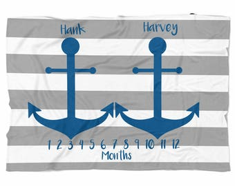 Twins Milestone blanket Monthly blanket for twins Personalized Baby boy Blanket, Baby blanket, swaddle blanket, Custom Blanket