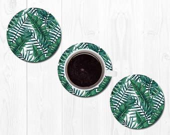 Coasters for Men Housewarming Gift Banana Leaf Coaster Leaves Coasters for Drinks Hostess Gift New Home Gift Cute Coasters Tropical Coasters