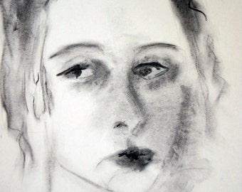 Drawing - Charcoal - Fine Art Print -- Melancholy - Woman Portrait
