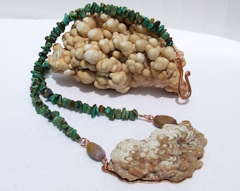 Stalactite Necklace, Natural aragonite copper pendant, turquoise jewelry