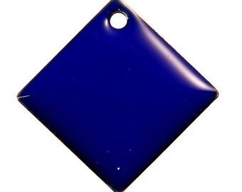 Set of 2 blue Argyle copper enameled 24 mm x 24 mm sequins