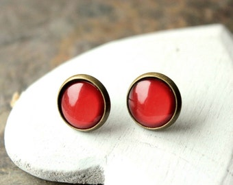 Terracotta Red stud earrings, Red Clip Ons, Small Tiny Red post, Simple Red Clipons, 12mm Little Red round Clips Boucle D'Oreille E474