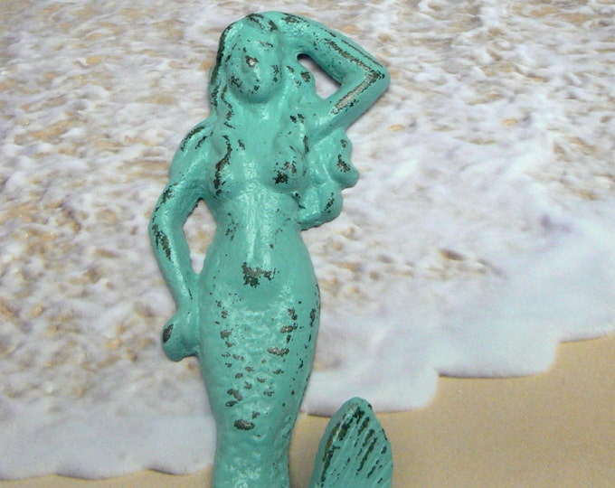 Mermaid Cast Iron Hook Blue Cottage Chic Shabby Chic Wall Nautical Beach Home Decor