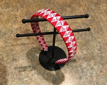 Red heart ribbon wrapped headband