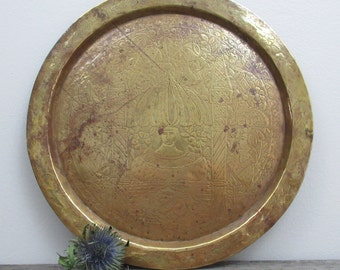 Vintage Brass Tray, Round Tray, Middle Eastern, Etched Brass, Cocktail Party, Ottoman Tray, Boho Decor