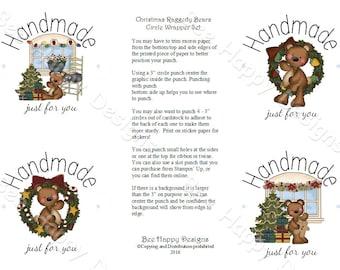 "PDF Printable ""Christmas Raggedy Bears"" Circle Wrapper/Label Set - NO background graphic"