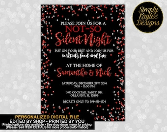 Not-so Silent Night Christmas Party Invitation