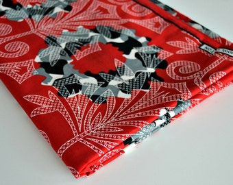 African Cotton Fabric - Capulana - Red, Black and White