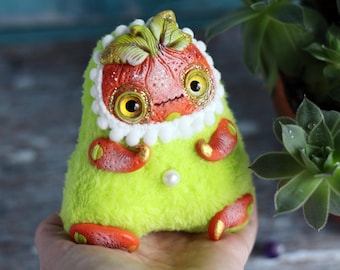 creepy toy pumpkin doll monster toy plush doll Gothic monster mini fantasy creature ooak polymer clay doll