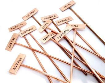Custom Copper Garden Markers - Hand Stamped