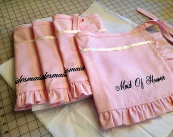 Bridal Apron, MADE TO ORDER, Bachelorette Party, Bridesmaids, Maid of Honor, Personalized, Vendor Aprons, Monogrammed, Name