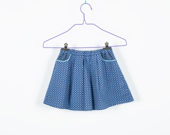 Skirt with pockets, to the contact, flower pattern, squiggle pattern, swinging skirt, elastic waistband, comfortable skirt white blue,