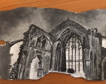 Melrose Abbey Slate Painting
