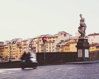 "Florence Italy Photography, Vespa on Ponte Vecchio, Large Wall Art Print, Fine Art Photography, Travel Print ""Morning Rush"""