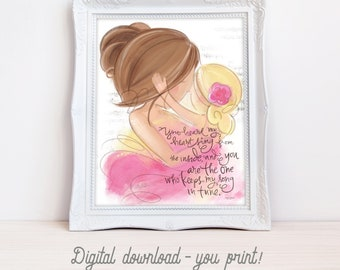 INSTANT DOWNLOAD You Print Mother Daughter Nursery Gift Wall Art Printable Instant Download Designs Meg