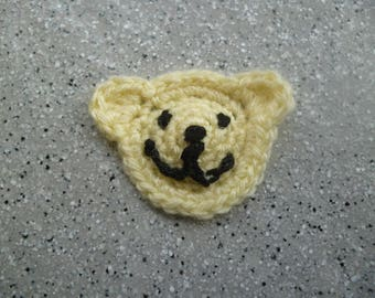 1 attractive applique Teddy bear in yellow cotton crocheted by me