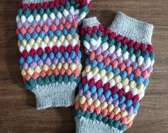Harlequin Mitts, handknit pastel rainbow fingerless gloves