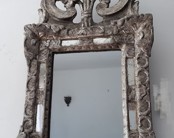 Antique mirror: Carved wood mirror gilted with silver leaf, French mirror