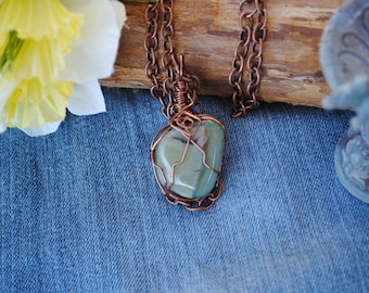 Green agate necklace; wire wrapped stone; wire wrapped agate; green and copper necklace; reversible necklace; green stone necklace