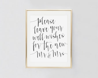 Please leave your well wishes, Please leave your wishes for the mr and mrs, Wedding well wishes sign, Well wishes for the mr and mrs