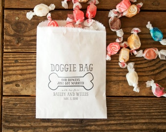 Doggie Bag - Personalized Birthday or Wedding Favor Bag - Custom Printed Wax Lined Paper Bags - 20 White Favor Bags included